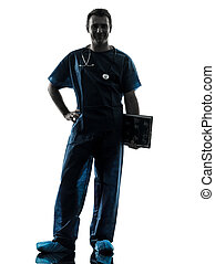 doctor man silhouette full length - one caucasian man doctor...