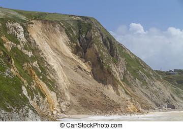Major coastal landslide, Dorset,UK - Major cliff collapse...