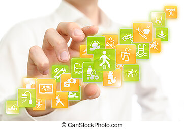 Health applications - Man choosing health mobile...