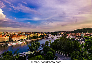 Vltava river and bridges in Prague at sunset