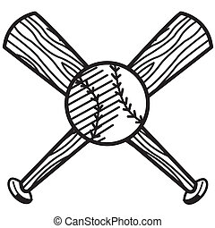 Baseball and bat sports clip art in black and white