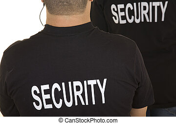 security guard - back of two security guards isolated on...