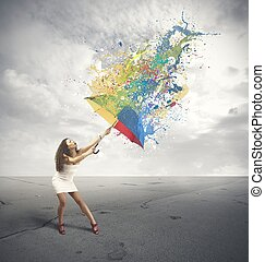 Paint the gray - Girl with multicolor umbrella and paint the...
