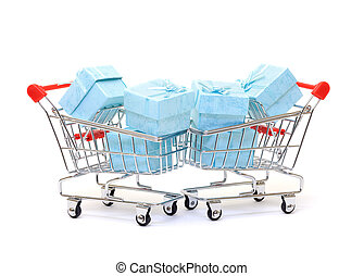 Cyan gift boxes in shopping carts