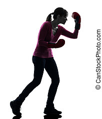 mature woman with boxing gloves silhouette - one caucasian...