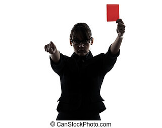 business woman showing red card silhouette - one business...