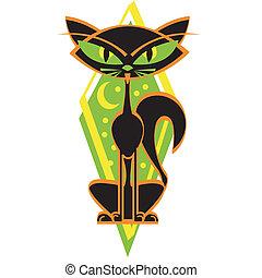 Halloween Black Cat Retro Vintage - Halloween black cat in...