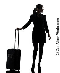 business woman traveling standing silhouette - one business...
