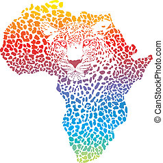 Abstract symbol Africa in leopard