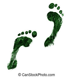 Green feet - Impression of a pair of feet in green ink