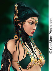 Dragon Lady - 3d computer graphics of a lady with Oriental...