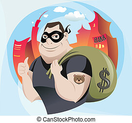 Bank Robber - The vector illustration of the Robber