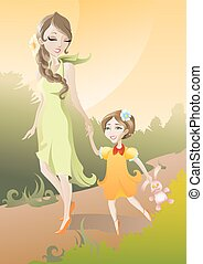 Mother and Daughter - The vector illustration of Mother and...