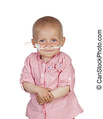 Adorable baby beating the disease isolated on white...
