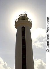sun beam lighthouse - sun halo behind an ocean beach...