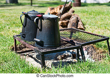 Campfire - Civil War era coffee pot on a campfire