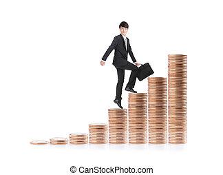 Successful business man sitting on money stairs - Successful...