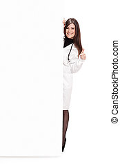 Brunette Doctor with message board - Photo of brunette...