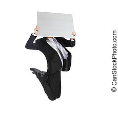 business man jumping and holding billboard