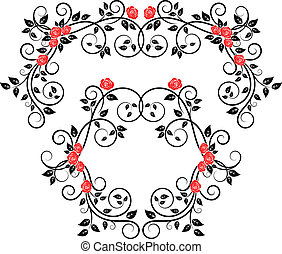 Roses on floral frame and border