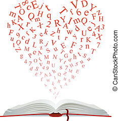 Open book with heart of letters for education design
