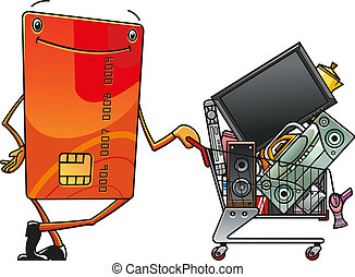 Credit card with shopping cart of electronics