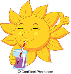 Sun cartoon character drinking - Vector illustration of Sun...