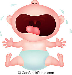 Baby cartoon crying - Vector illustration of Baby cartoon...