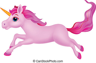 Cute unicorn cartoon running - Vector illustration of Cute...
