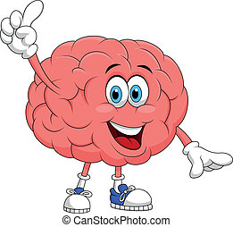 Cute brain cartoon character pointi - Vector illustration of...