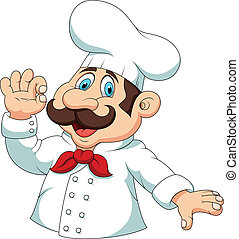 """Chef cartoon with """"ok"""" sign - Vector illustration of Chef..."""