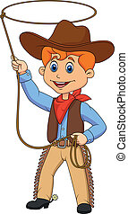 Cowboy kid cartoon twirling a lasso - Vector illustration of...