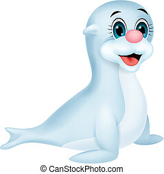 Baby seal cartoon - Vector illustration of Baby seal cartoon