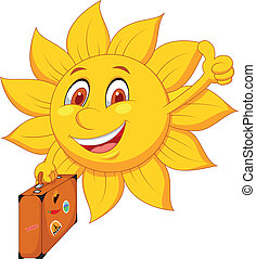 Cartoon sun travelle - Vector illustration of Cartoon sun...
