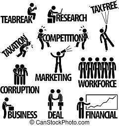 Business Businessman Text Concept - A set of pictogram...