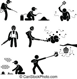 People Exterminator Pest Control - A set of pictogram...