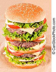Huge hamburger shoot from above