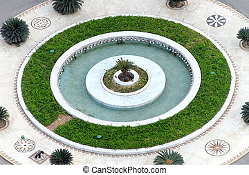 Roundabout fountain - Roundabout circle with fountain and...