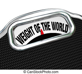 Weight of the World Scale Words Burden Trouble - The words...