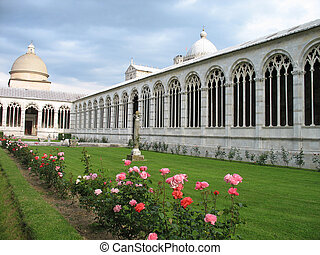 Roses in Camposanto-cemetery in Pisa, Italy.