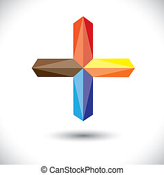 Abstract creative plus icon(positive sign)- vector graphic....