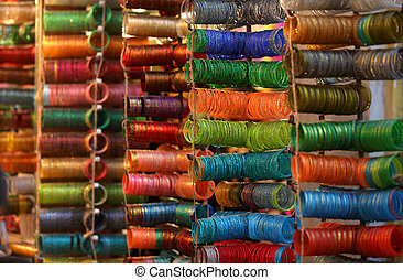 Colorful bangles are up for sale out side the store