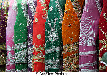 Indian Saris - Display of Indian saris in the showroom