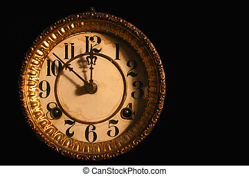 antique clock face - Antique clockface on black the time is...