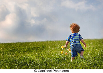 Young boy holding a bouquet of daffodils walking up a hill -...