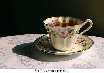 Afternoon Tea - A vintage flowered cup filled with tea...