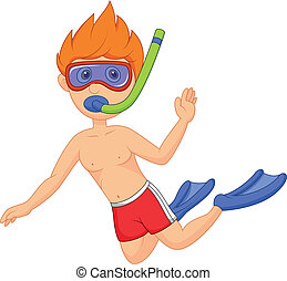 Snorkeling kid cartoon - Vector illustration of Snorkeling...