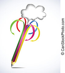 Colorful pencil with blank bubbles. Vector