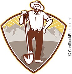 gold-miner-shovel-shield - illustration of a gold digger...
