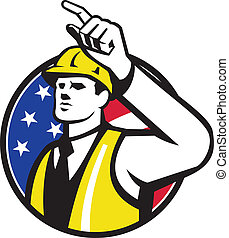 Illustration of a builder construction worker engineer foreman pointing set inside circle done in retro style.